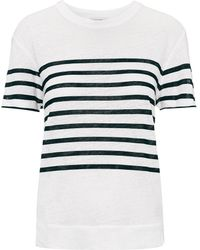 Whistles Placement Stripe Linen Tee - Lyst
