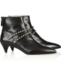 Miu Miu Studded Leather Ankle Boots - Lyst