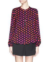 Diane von Furstenberg 'Neda' Polka Dot Print Silk Georgette Top red - Lyst