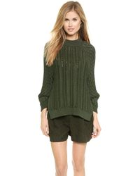 3.1 Phillip Lim Cable Stitch Sweater - Army Green - Lyst