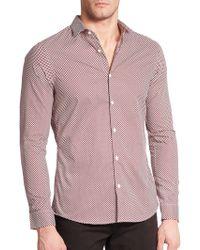 Michael Kors Slim Mervin Dotted Cotton Sportshirt red - Lyst