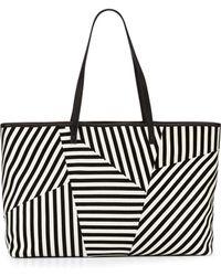 L.A.M.B.   Idelia Striped Suede Tote Bag   Lyst