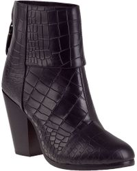 Rag & Bone Classic Newbury Ankle Boot Black Croc - Lyst