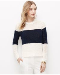 Ann Taylor Colorblock Cropped Relaxed Sweater - Lyst