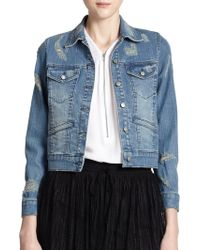 The Kooples Distressed Denim Jacket - Lyst