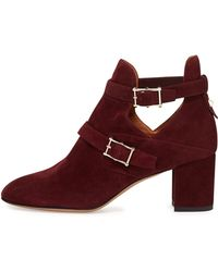 Valentino Suede Double-buckle Ankle Boot - Lyst