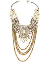 Laura Cantu - Large Drop Rhinestone Necklace - Clear/Brass - Lyst