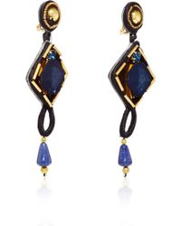 Naeem Khan - Lapis And Chiffon Covered Crystal Chandelier Earrings - Lyst
