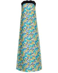 OSMAN Isis Swirl-Jacquard Strapless Gown green - Lyst