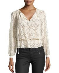 Nicole Miller Gauzy Lace Top - Lyst