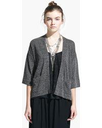 Mango Metal-Thread Linen-Blend Cardigan gray - Lyst