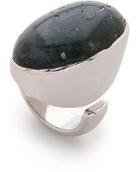 Maison Margiela Stone Ring - Bright Silver/Moss Agate - Lyst