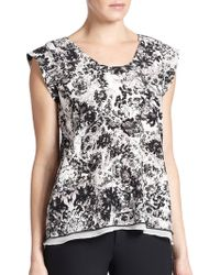 Rebecca Taylor Silk Floral-Print Top floral - Lyst