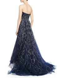 Carolina Herrera Strapless Metallic Honeycomb Highlow Gown - Lyst