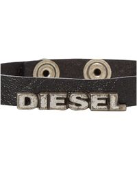 Diesel Leather Amosto Thin Bracelet - Lyst