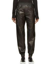 Juun.j Black Leather Jogging Pants - Lyst