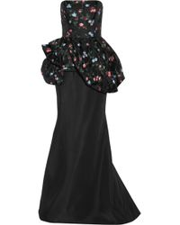 Oscar de la Renta Floral-Embroidered Gauze And Twill Gown - Lyst