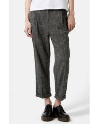 Topshop Tapered Crop Trousers - Lyst