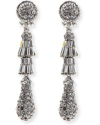 Jose & Maria Barrera | Rhodium Tiered Baguette Teardrop Earrings | Lyst