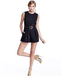 Rachel Zoe Sleeveless Belted Short Jumpsuit - Lyst