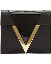 Versus  Black Leather Gold V Anthony Vaccarello Edition Clutch - Lyst