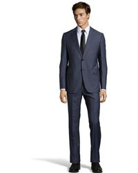 Armani Blue Pin Stripe Virgin Wool 2-Button 'M-Line' Suit With Pleated Pants - Lyst