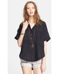 Free People 'Weekend Escape' High/Low Shirt black - Lyst