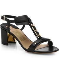 Ferragamo Maki Leather Chain Link Sandals black - Lyst