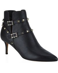 Valentino Rockstud Leather Shoe Boot - Lyst