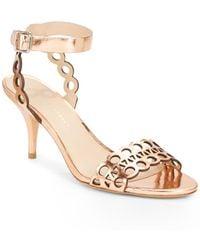 Loeffler Randall Opal Metallic Leather Cutout Sandals - Lyst