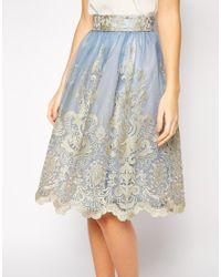 Chi Chi London - Premium Metallic Lace Full Midi Skirt - Lyst