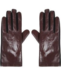 Topshop Womens Leather Ponte Gloves - Burgundy - Lyst