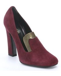 Gucci Burgundy Suede Plate Detail Heeled Loafers - Lyst
