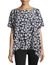 Diane Von Furstenberg Silk Spotted Cap-sleeve Blouse - Lyst
