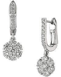 Morris & David - Diamond And 14k White Gold Drop Earrings, 1.15 Tcw - Lyst