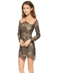 For Love & Lemons Grace Mini Dress Blacknude - Lyst
