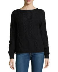 Halston Heritage Long-Sleeve Cable-Knit Wool Sweater - Lyst
