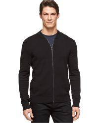 Calvin Klein Full-Zip Baseball Sweater - Lyst