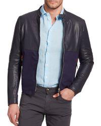 Armani Perforated Leather Jacket - Lyst