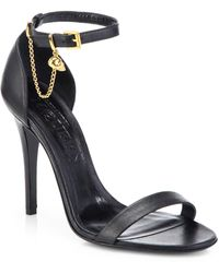 Alexander McQueen Skull Leather Ankle-Strap Sandals - Lyst