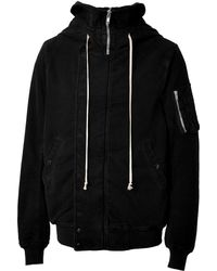 DRKSHDW by Rick Owens Cotton Hooded Bomber Jacket - Lyst