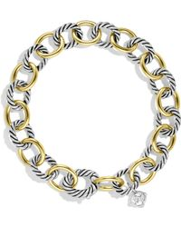David Yurman - Oval Link Bracelet With Gold - Lyst