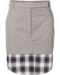 Carven Check Detail Skirt black - Lyst
