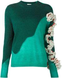 Delpozo Ruffle Detail Sleeve Sweater green - Lyst