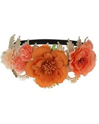 Topshop Lace And Flower Headband orange - Lyst
