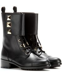 Valentino Lock Leather Boots - Lyst