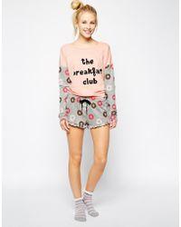 Mink Pink Breakfast Club Track Lounge Shorts - Lyst