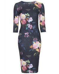 Topshop Womens Blur Rose Print Midi Bodycon Dress  Black - Lyst