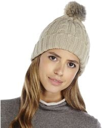 C-lective - Real Rabbit Fur Cable Knit Hat - Lyst