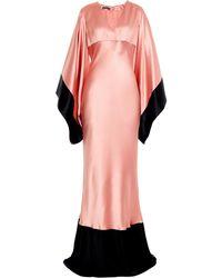 Alexander McQueen Bi-Colour Kimono-Sleeve Silk-Satin Gown - Lyst